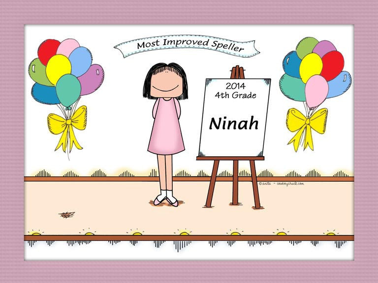 Award for Child Cartoon Picture Female - Personalized 8423