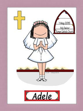 1st Communion Cartoon Picture Female - Personalized 8431