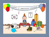 Kid's Birthday Cartoon Picture Male - Personalized 8446