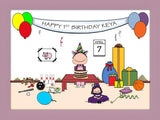Kid's Birthday Cartoon Picture Female - Personalized 8447