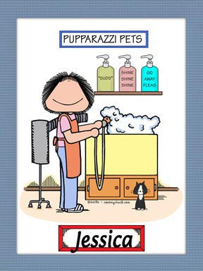 Dog Groomer Cartoon Picture Female - Personalized 8483