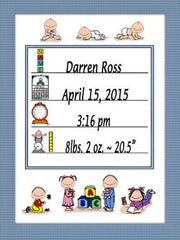 Baby Announcement Cartoon Picture - Personalized 8502