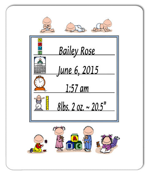 Baby Announcement Mouse Pad Personalized
