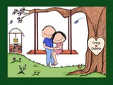 Couple on A Swing Cartoon Picture - Personalized 8506