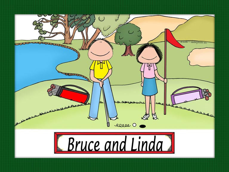 Golfer Couple Cartoon Picture