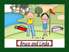 Golfer Couple Cartoon Picture - Personalized 8512