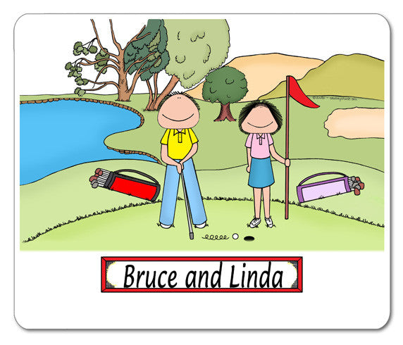 Golfer Couple Mouse Pad - Personalized