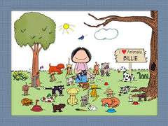 Animal Lover Cartoon Picture Female - Personalized 8515