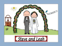 Outdoor Wedding Couple Cartoon Picture - Personalized 8521
