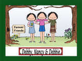 Friends / Sisters Cartoon Picture 3 Females Personalized 8539