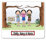8539 Friends Mouse Pad 3 Females Personalized