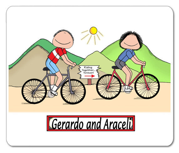 Cycling Couple Mouse Pad Male and Female - Personalized 8542