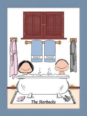 Bubble Bath Couple Cartoon Picture - Personalized 8544