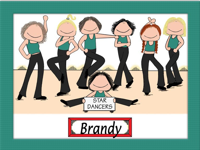 Dance Team Cartoon Picture Female - Personalized 8547