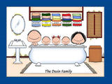 Bath Buddies Cartoon Picture with 3 Kids - Personalized 8552