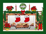 Christmas Stockings Cartoon Picture with 2 Stockings - Personalized 8572