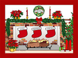 Christmas Stockings Cartoon Picture with 3 Stockings Personalized 8573