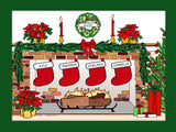 Christmas Stockings Cartoon Picture with 4 Stockings - Personalized 8574
