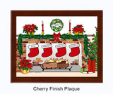 Christmas Stockings Plaque - Personalized 4 Stockings