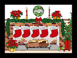 Christmas Stockings Cartoon Picture with 5 Stockings - Personalized 8575