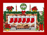 Christmas Stockings Cartoon Picture with 6 Stockings - Personalized 8576