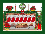 Christmas Stockings Cartoon Picture with 7 Stockings - Personalized 8577