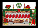 Christmas Stockings Cartoon Picture with 8 Stockings - Personalized 8578