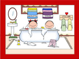 Kids in Tub Cartoon Picture with 2 Kids Personalized 8581