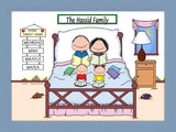 Home Sweet Home Family Cartoon Picture with 2 Kids - Personalized 8592