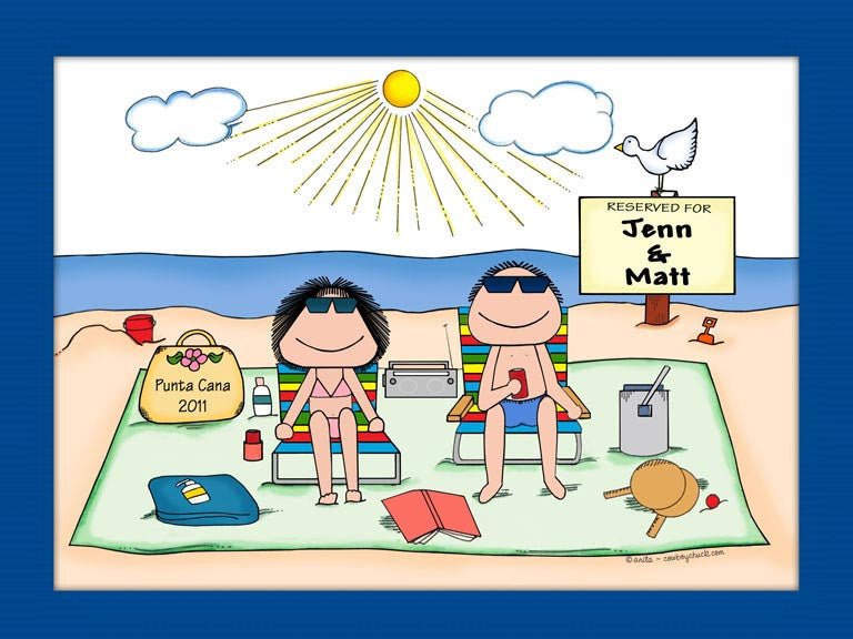 Sunbathers Couple Cartoon Picture