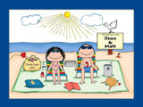 Sunbathers Couple Cartoon Picture - Personalized 8596