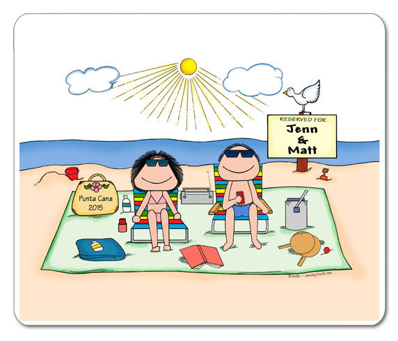 Sunbathers Couple Mouse Pad