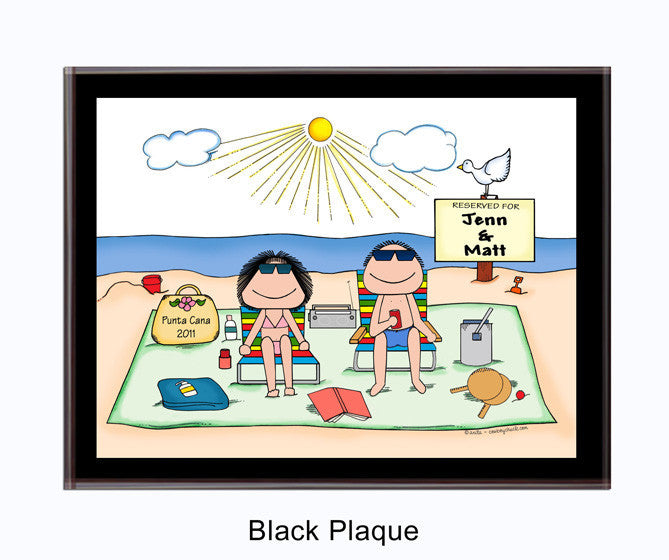 Sunbathers Couple Plaque