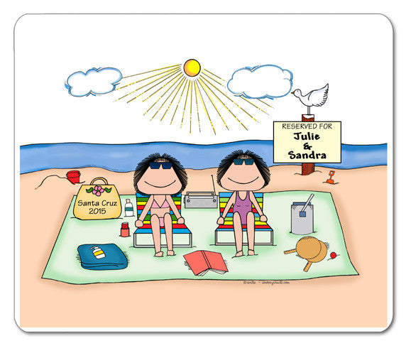 Sunbathers Friends / Sisters Mouse Pad