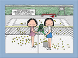 Tennis Doubles Cartoon Picture Female and Female - Personalized 8598
