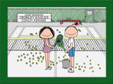 Tennis Doubles Cartoon Picture Male and Female - Personalized 8599