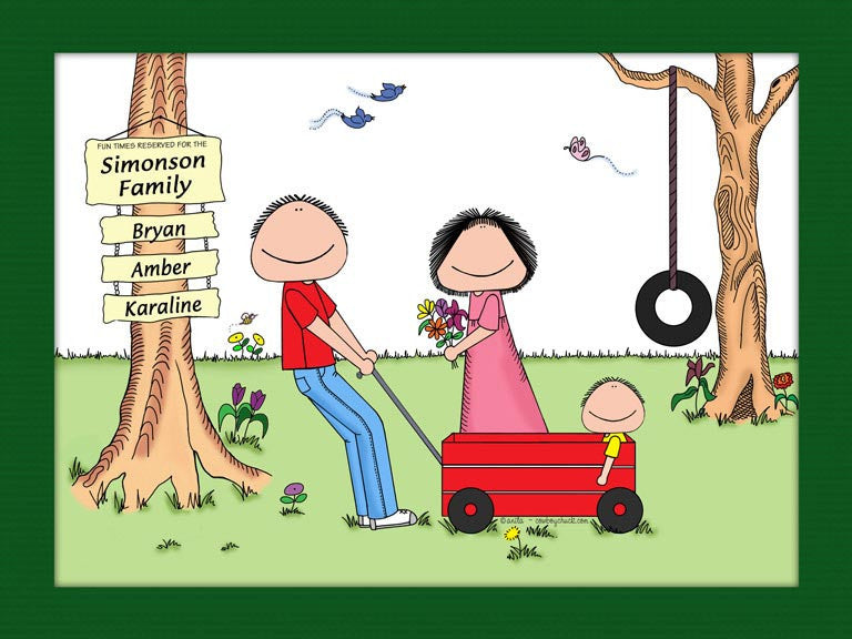 Outdoor Family Cartoon Picture