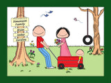 Outdoor Family Cartoon Picture with 1 Kid- Personalized 8601