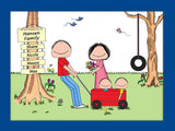 Outdoor Family Cartoon Picture with 2 Kids- Personalized 8602