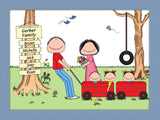 Outdoor Family Cartoon Picture with 3 Kids- Personalized 8603