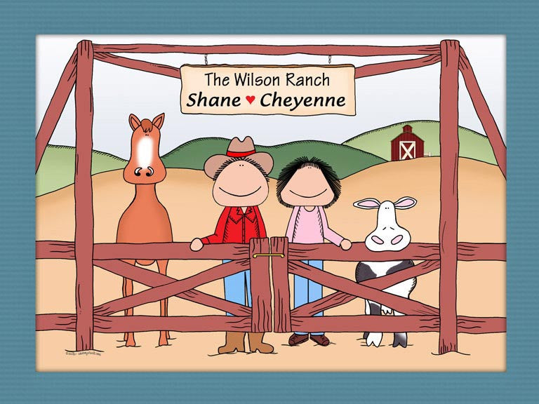 Rancher Couple Cartoon Picture - Horse & Cow