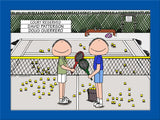 Tennis Doubles Cartoon Picture Male and Male - Personalized 8616