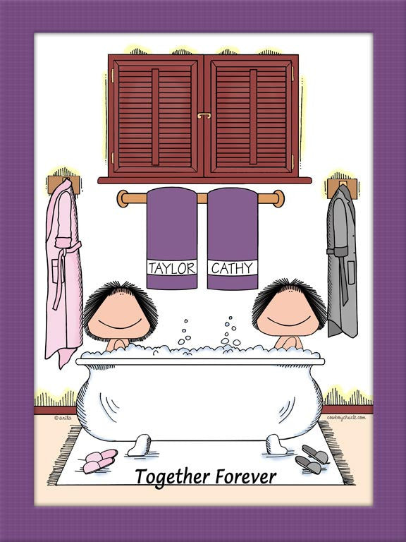 Bubble Bath Cartoon Picture Female and Female - Personalized 8627