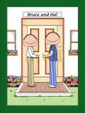 New Home Cartoon Picture Male and Male - Personalized 8632