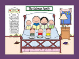 Home Sweet Home Family Cartoon Picture with 5 Kids - Personalized 8635