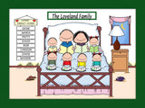 Home Sweet Home Family Cartoon Picture with 6 Kids - Personalized 8636