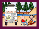 RV Family Cartoon Picture with 4 Kids Personalized 8644