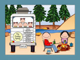 RV Family Cartoon Picture with 5 Kids - Personalized 8645