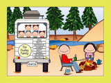 RV Family Cartoon Picture with 6 Kids - Personalized 8646