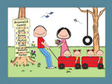Outdoor Family Cartoon Picture with 4 Kids- Personalized 8654